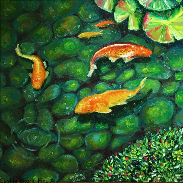 Paddy Leaves, Oils, 24 x 24 inches Finger painting