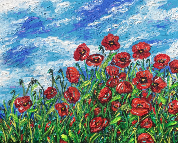 poppies wild flowers oil painting fingerpainting Saskia Skoric