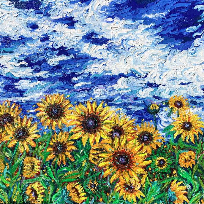 Sunflower flowerscape oil painting fingerpainting impressionist Van Gogh style by Saskia Skoric