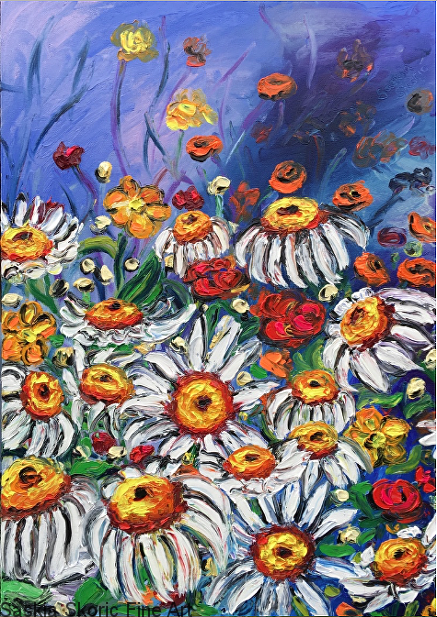 Flowerscape oil painting fingerpainting impressionist style by Saskia Skoric