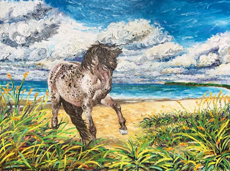 Speckle's Beach (30 x 40 inches) Oil on canvas textured finger painting by Saskia Skoric