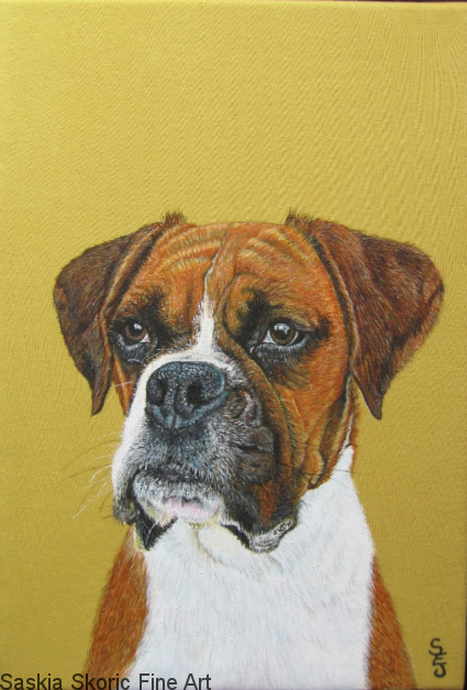 boxer dog realism artwork fabric paints by Saskia Skoric