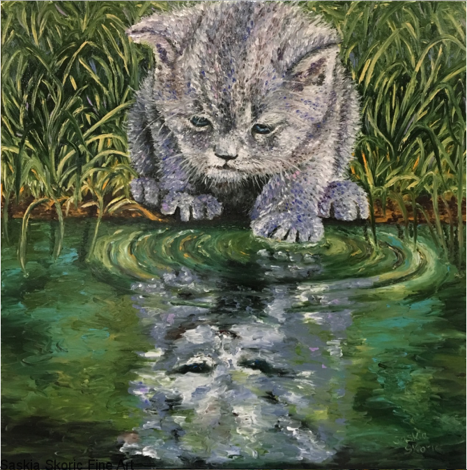 Curiosity Kitty 30 x 30 inches, textured finger painting by Saskia Skoric