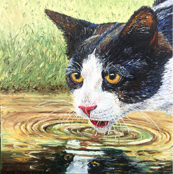 From a Golden Pond, fingerpainting oil painting cat portrait by Saskia Skoric