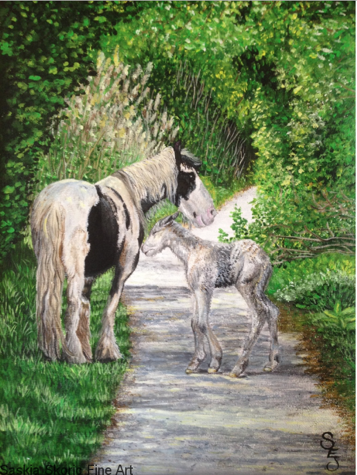 Horse painting oil on paper realism by Saskia Skoric