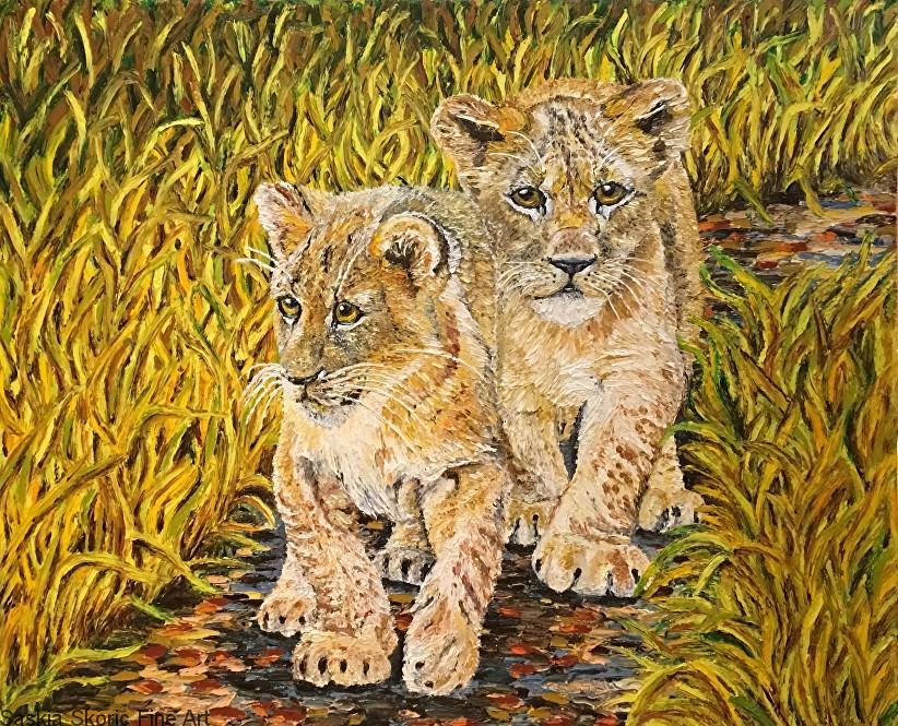 lions on the prowl finger painting oil painting by Saskia Skoric