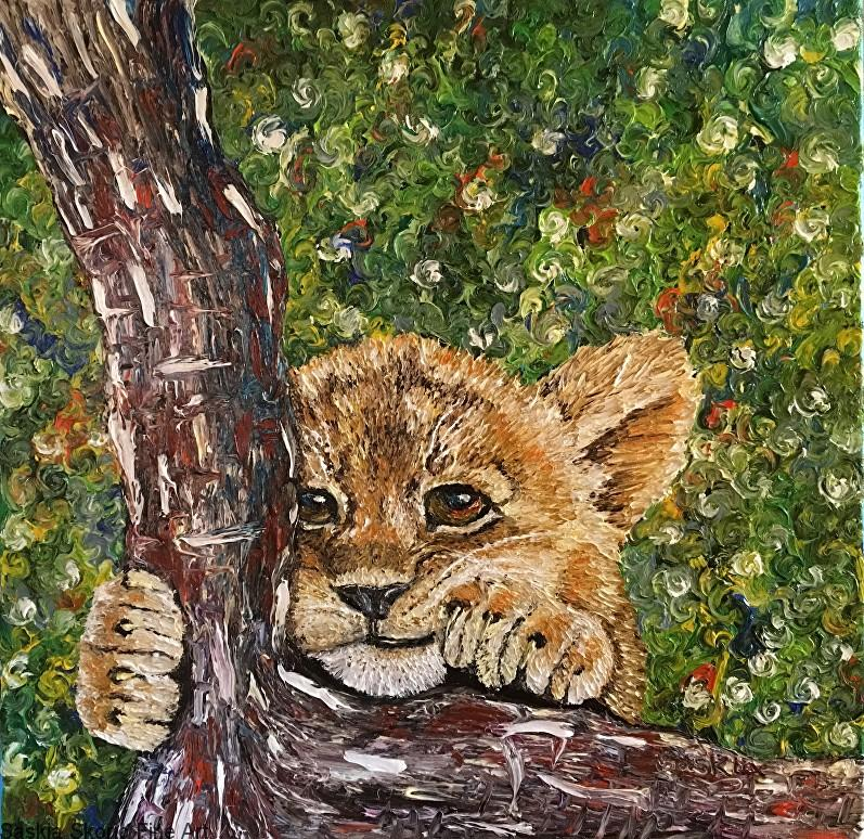 lion cub finger painting oil painting by Saskia Skoric