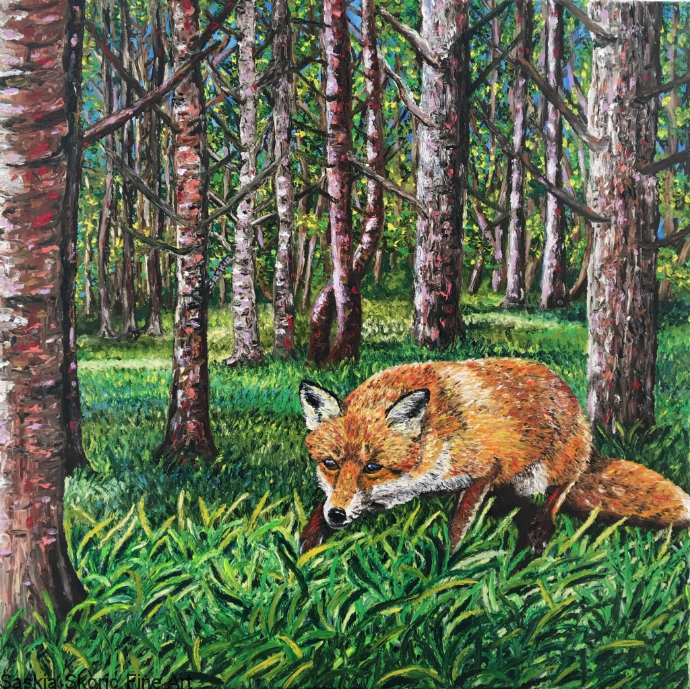 fox in the woods woodland fingerpainting oil painting by Saskia Skoric