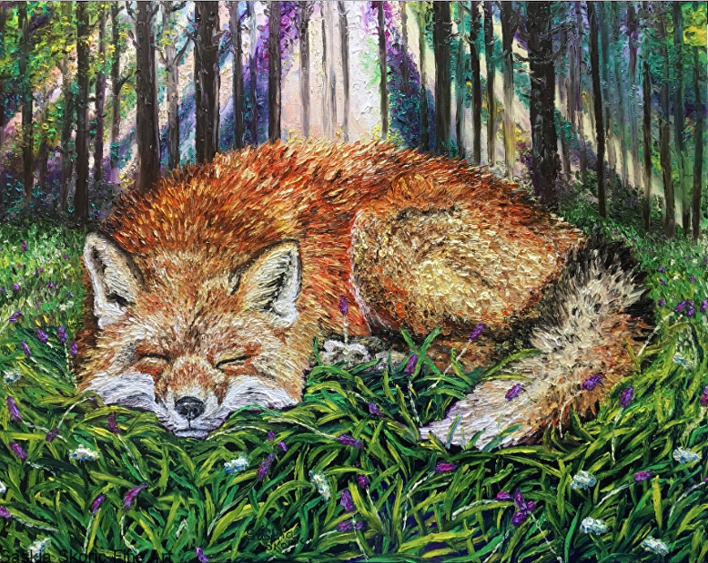 Sunrise Slumber 24 x 30 inches, textured oil finger painting, Saskia Skoric