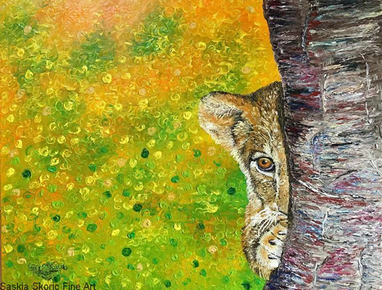 lion cub fingerpainting ,oil painting by Saskia Skoric