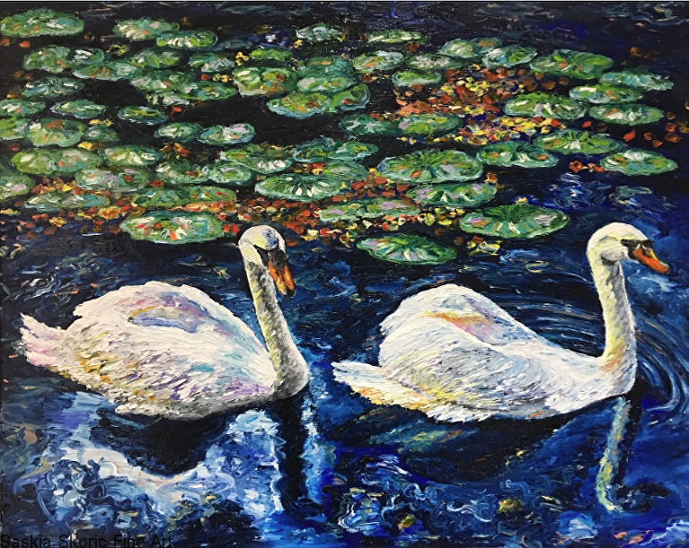 swans on a lake oil painting fingerpainting by Saskia Skoric