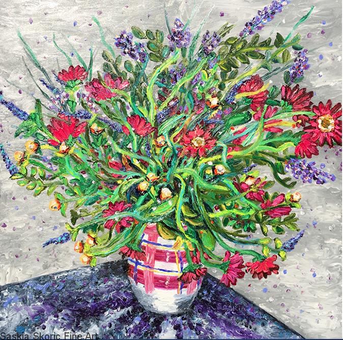 flower painting oil painting fingerpainting Van Gogh impressionist style by Saskia Skoric
