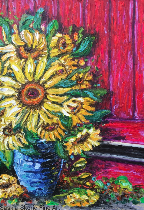 Sunflower Flower oil painting fingerpainting impressionist Van Gogh style by Saskia Skoric
