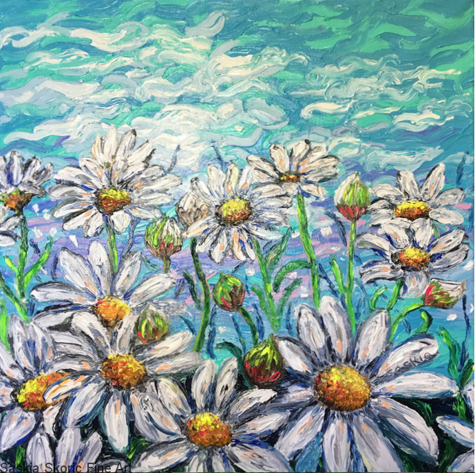 Daisy Boom, Oils, 20x20 inches textured finger painting by Saskia Skoric