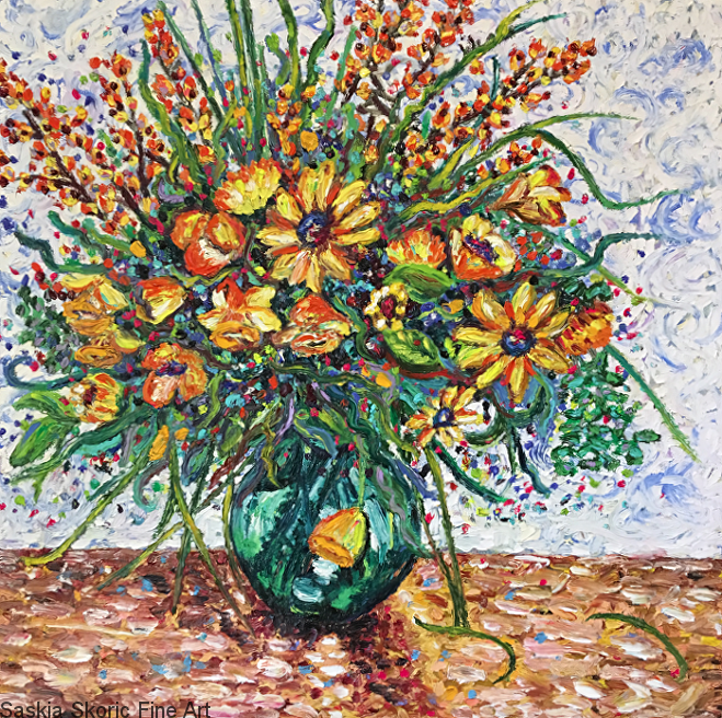 Flower painting still life oil painting fingerpainting impressionist style by Saskia Skoric