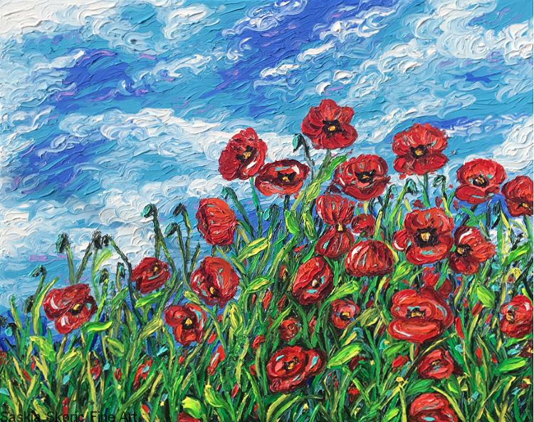 Poppy flowerscape oil painting fingerpainting impressionist Van Gogh style by Saskia Skoric