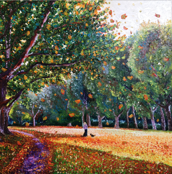 Bishops park landscape autumn scene dog walker oil on canvas fingerpainting Van Gogh impressionist style by Saskia Skoric