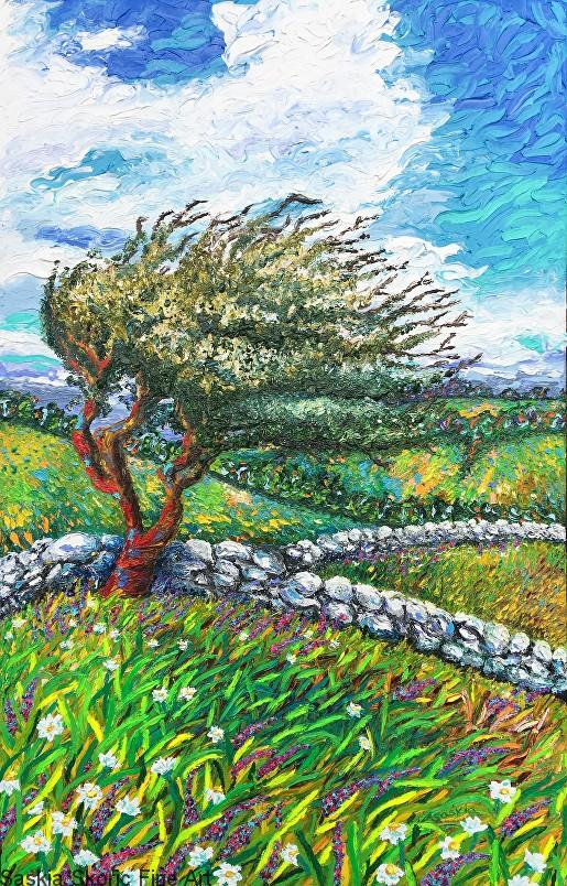 Windy landscape impressionist Van Gogh style oil painting fingerpainting by Saskia Skoric