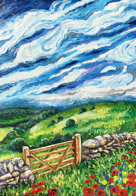 Van Gogh style windy landscape impressionist oil painting fingerpainting by Saskia Skoric