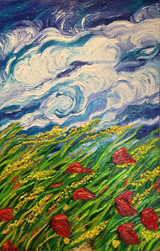 Windy landscape oil painting fingerpainting by Saskia Skoric