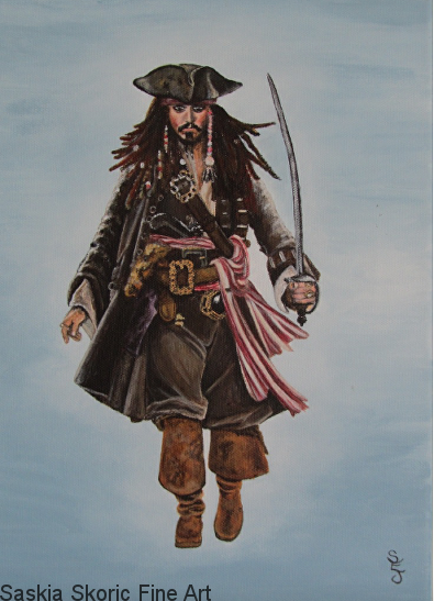 Captain Jack Sparrow portrait acrylic painting by Saskia Skoric