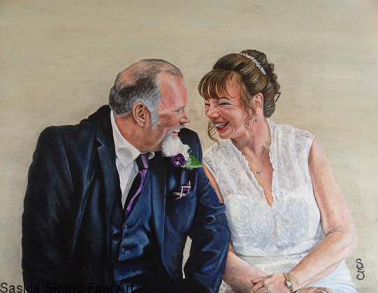 Dave and Beverley commission acrylic on canvas by Saskia Skoric