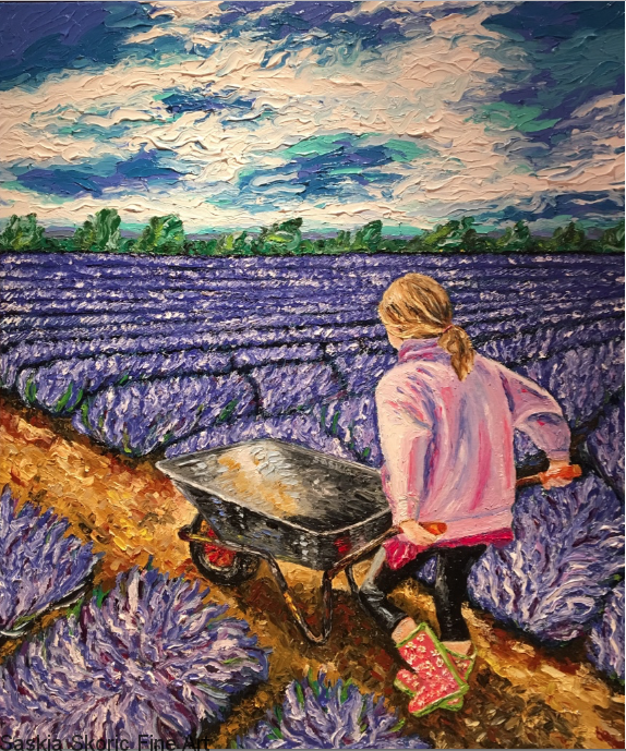 Pierra in her wellington boots pushing a wheelbarrow oil on canvas fingerpainting impressionist style by Saskia Skoric