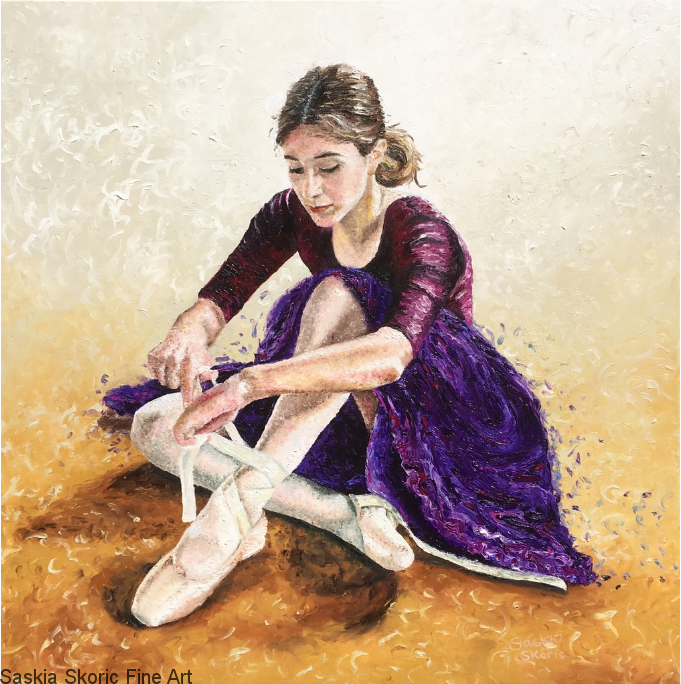 Lucia (30 x 30 inches) Oil on Canvas Finger painting by Saskia Skoric