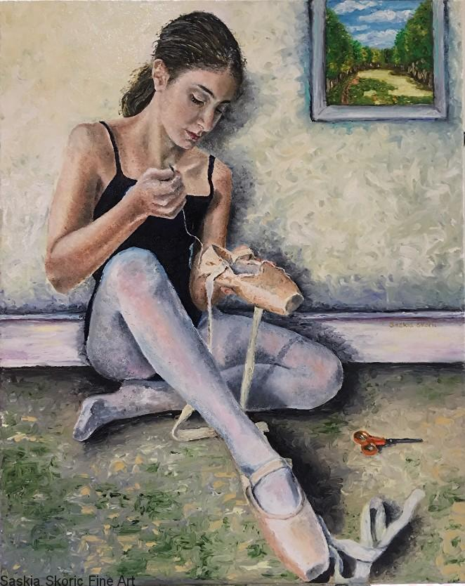 Seamstress (30 x 24 inches) Oil on canvas by Saski