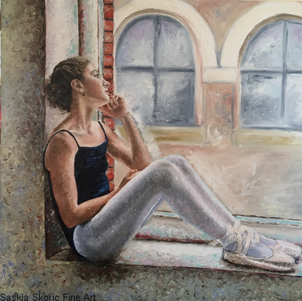 Time to Step Away, 32 x 32 inches Oil on canvas finger painting by Saskia Skoric