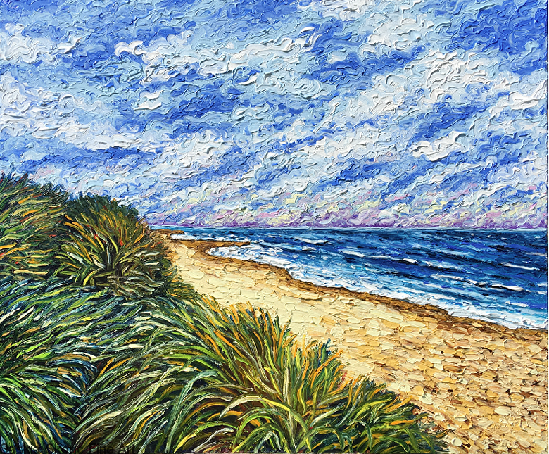 Seascape beachscape oil painting fingerpainting impressionist style by Saskia Skoric