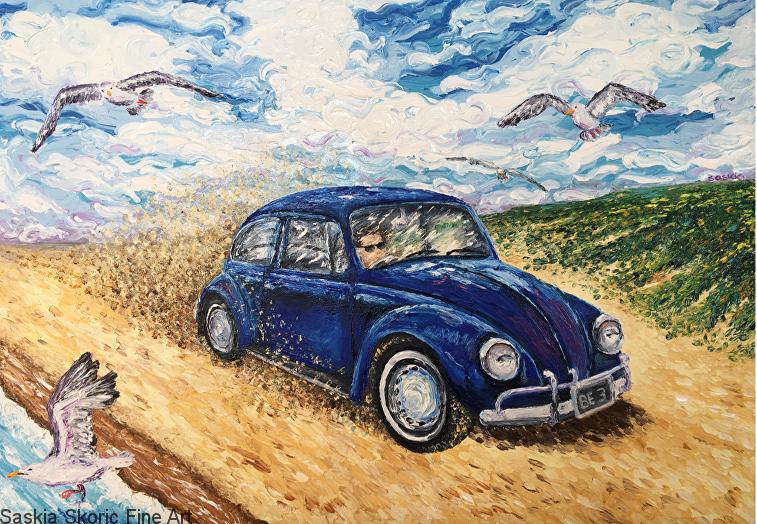 Vw beetle seascape wildlife beachscape oil painting fingerpainting imrpessionist style by Saskia Skoric