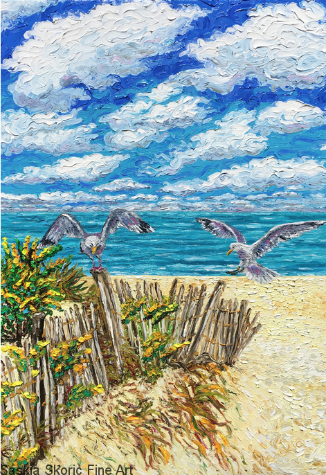 Seascape beachscape wildlife oil painting fingerpainting impressionist style by Saskia Skoric
