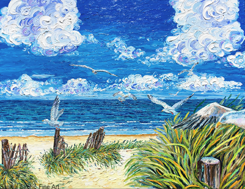 Beachscape seascape wildlife oil painting fingerpainting impressionist style by Saskia Skoric