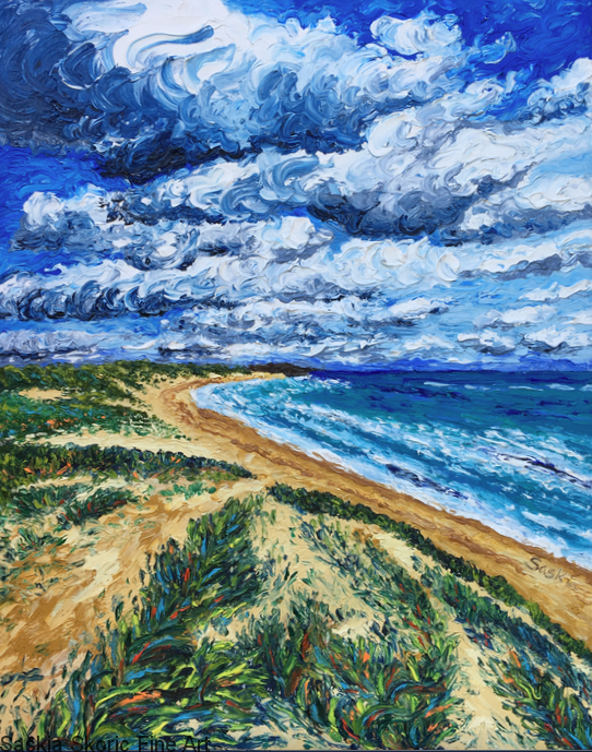Seascape oil painting fingerpainting impressionist artwork by Saskia Skoric