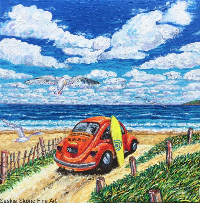 Beachscape seascape surfer vw beetle oil painting fingerpainting impressionist style by Saskia Skoric