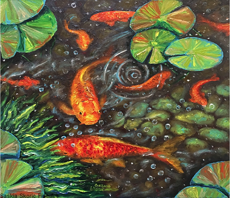 Koi Bubbles (20 x 20 inches) textured finger painting in oils by Saskia Skoric