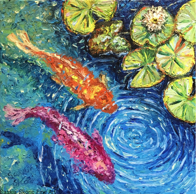 Koi Couple, Oils 16x16 inches textured finger painting by Saskia Skoric