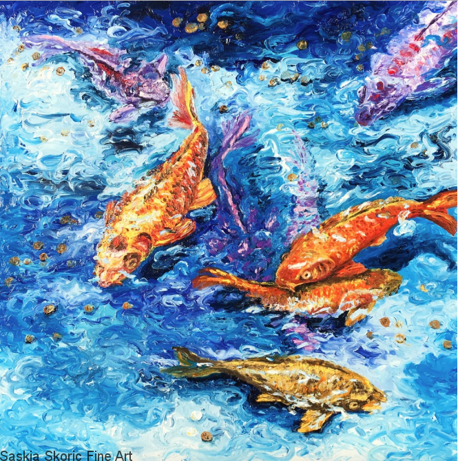 Swimming in Lucky Water, Oils, 30x30 inches finger painting by Saskia Skoric