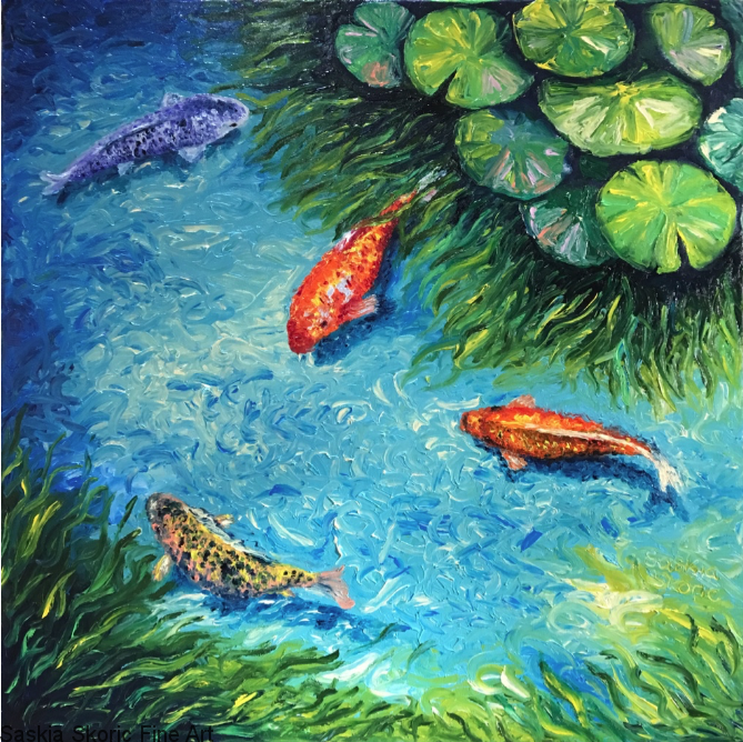 Swimming in Wishes, Oils, 24 x 24 inches textured finger painting by Saskia Skoric